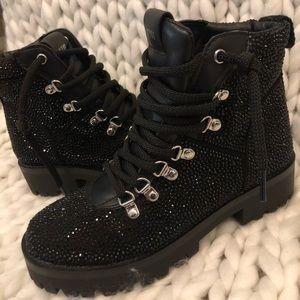 Sequin combat boots